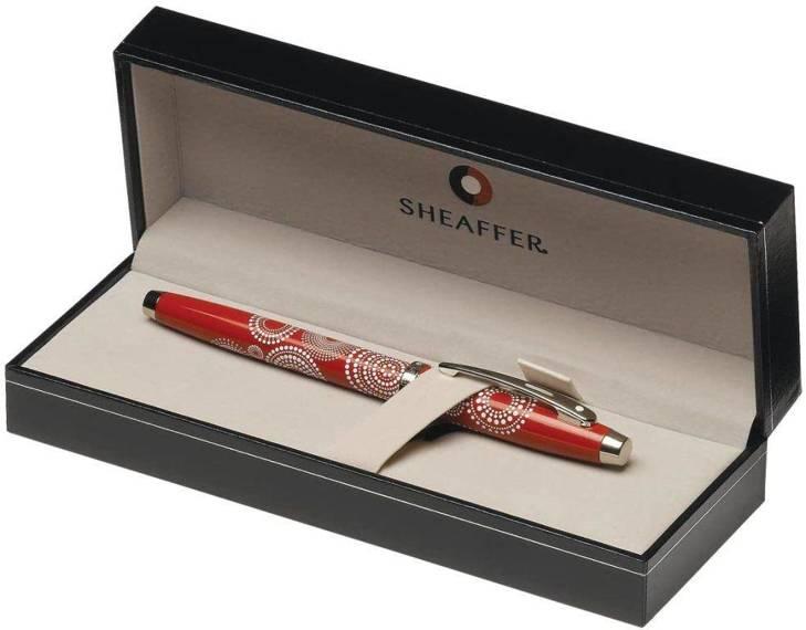 9272 PN Pióro wieczne Sheaffer kolekcja 100, czerwony, wzór, wykończenia chromowane