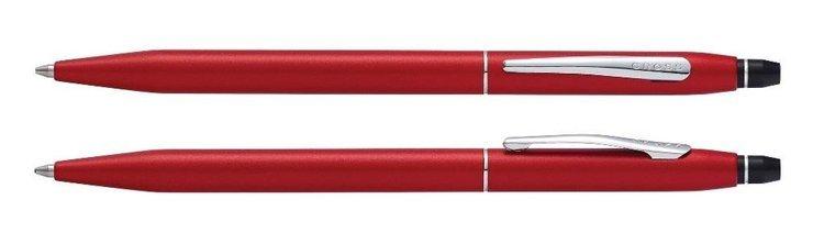 Długopis Cross Click czerwony, elementy chromowane