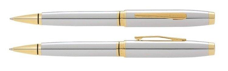 Długopis Cross Coventry chromowany, elementy w kolorze złotym