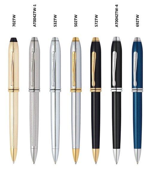 Długopis Cross Townsend czarny, elementy pokryte 23k złotem
