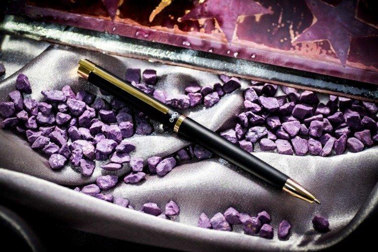 Długopis EXO Vela, czarny, złote wykończenia