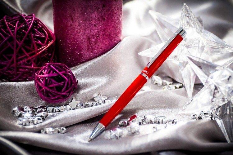 Długopis EXO Vela, czerwony, wykończenia chromowane
