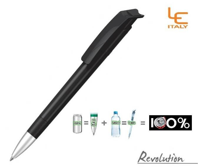 Długopis LE ITALY Revolution solid ALrPET czarny