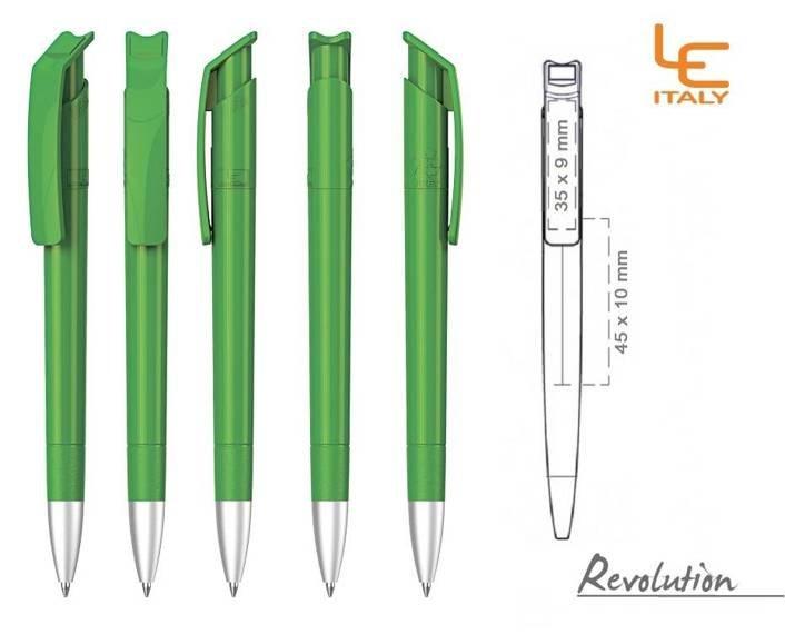 Długopis LE ITALY Revolution solid ALrPET jasnozielony