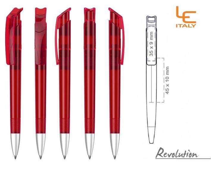 Długopis LE ITALY Revolution transparentny ALrPET czerwony