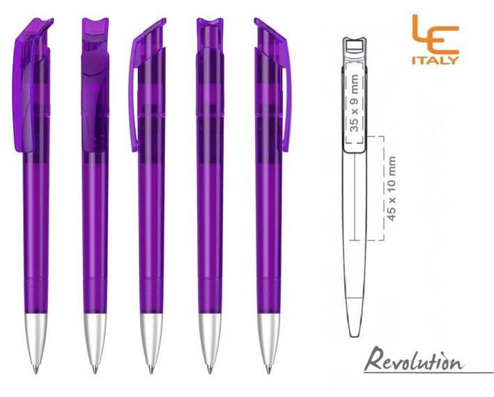 Długopis LE ITALY Revolution transparentny ALrPET fioletowy