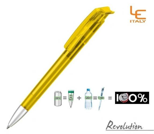 Długopis LE ITALY Revolution transparentny ALrPET żółty