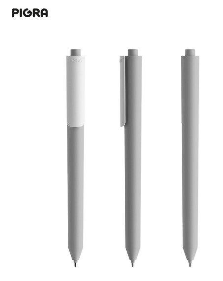 Długopis PIGRA P03, szary z białym klipsem