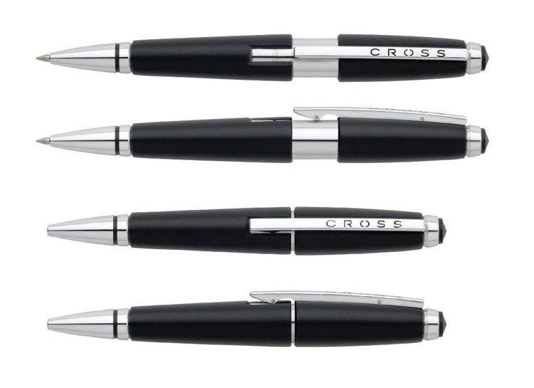 Długopis żelowy Cross Edge czarny, elementy chromowane