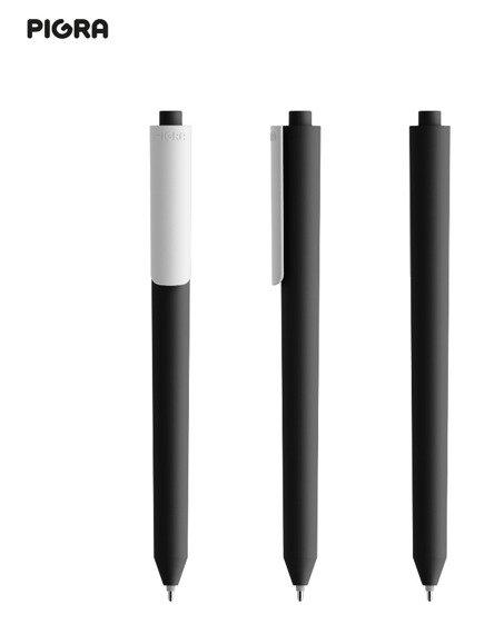Długopis żelowy PIGRA P03, czarny z białym klipsem