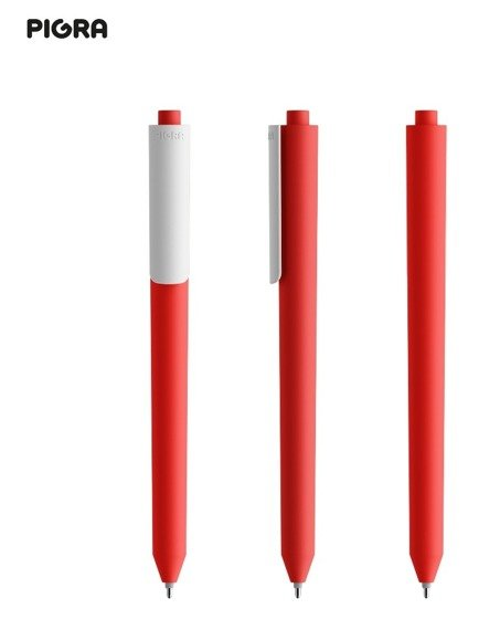Długopis żelowy PIGRA P03, czerwony z białym klipsem
