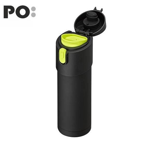 Kubek termiczny PO: Pao, czarno-jasnozielony