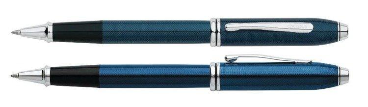 Pióro kulkowe Cross Townsend niebieskie, elementy platerowane rodem