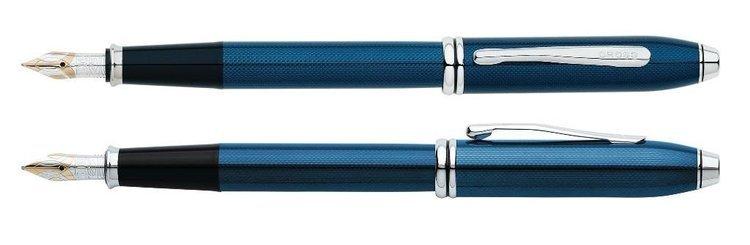 Pióro wieczne Cross Townsend niebieskie, elementy platerowane rodem