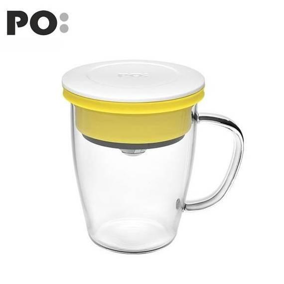 Szklanka z zaparzaczem PO: Duo, biało-żółty