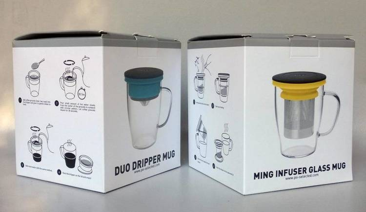 Szklanka z zaparzaczem PO: Duo, czarno-niebieski